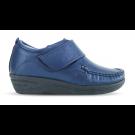 Sapato em Couro Salto Anabela REF 084 - Azul Marinho